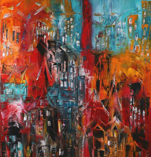 Canvastryck Den glömda staden 80×100